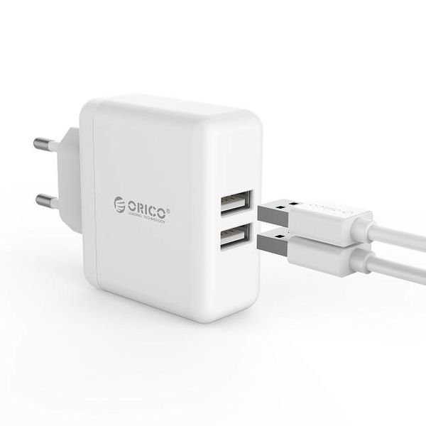 Orico Double chargeur USB - chargeur de voyage / maison avec 2 ports de chargement USB - puce IC - 15 W - blanc
