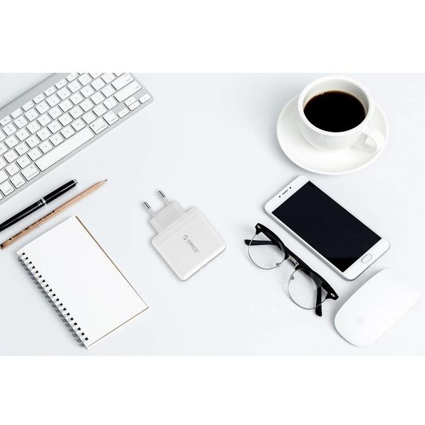 Orico Dual USB lader - reis/thuislader met 2x USB-laadpoorten – IC chip - 15W - Wit