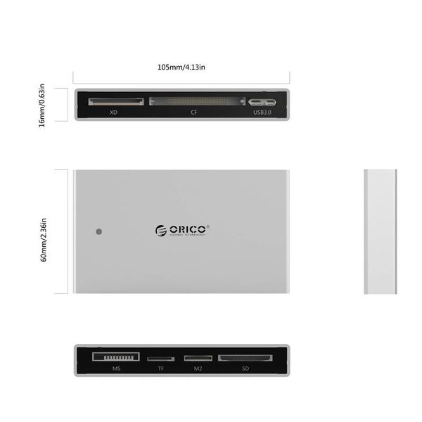 Orico Aluminum all-in-1 USB 3.0 card reader - For TF / SD / CF / M2 / MS / XD cards - HCSD - Incl. USB 3.0 cable - LED indicator - Silver