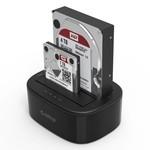 Orico Station d'accueil USB 3.0 double baie pour disques durs 2,5 / 3,5 pouces avec fonction clone - HDD / SSD - Incl. Câble de données et adaptateur secteur - Indicateurs LED - Noir