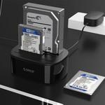 Orico Station d'accueil double baie USB 3.0 pour disques durs 2,5 / 3,5 pouces avec fonction clone - Disque dur / SSD - Incl. Câble de données - Indicateur LED - Noir