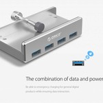 Orico Aluminium USB 3.0 Hub mit Clip-on Design - 4 USB Typ-A Ports - Klemmbereich 10 bis 32mm - 5 Gbps - Inkl. Datenkabel - Silber