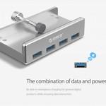 Orico Moyeu USB 3.0 en aluminium avec clip - 4 ports USB Type-A - Plage de serrage 10 à 32 mm - 5 Gbps - Incl. câble de données - Argent