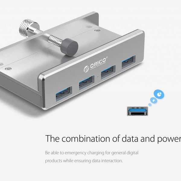 Orico Aluminum USB 3.0 hub with clip-on design - 4 USB Type-A ports - Clamping range 10 to 32mm - 5Gbps - Incl. data cable - Silver