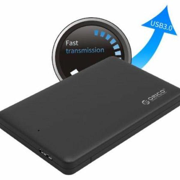 Orico USB 3.0-Festplattengehäuse für eine 2,5-Zoll-Festplatte - HDD / SSD - SATA III - Schwarz