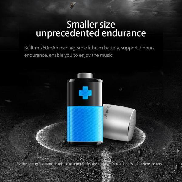 Orico Mini haut-parleur Bluetooth portatif en aluminium - 53dB - Bluetooth 4.2 - Portée: 10 mètres - 3W - Câble micro USB inclus - Argent