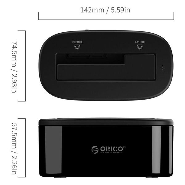 Orico Station d'accueil pour disque dur 2,5 pouces ou 3,5 pouces - HDD / SSD - Incl. câble de données et adaptateur secteur - indicateur LED - noir brillant