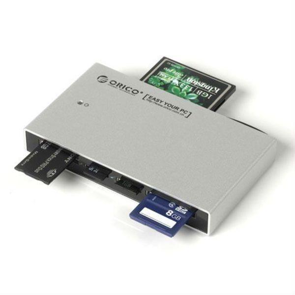Orico Lecteur de cartes tout-en-un USB 3.0 en aluminium - Pour cartes TF / SD / CF / M2 / MS / XD - HCSD - Incl. Câble USB 3.0 - Indicateur LED - Argent
