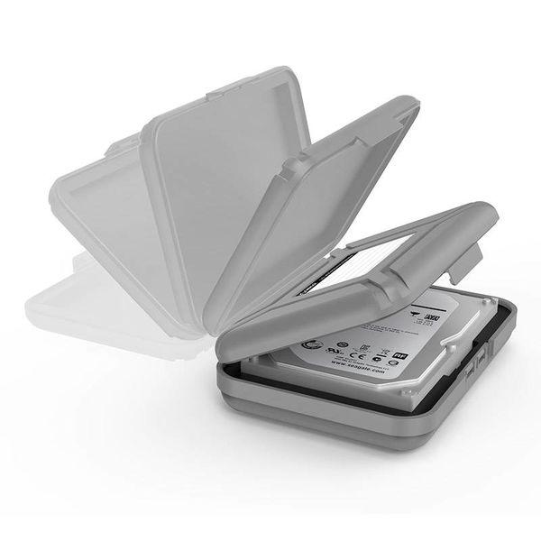 Orico Tragbare Schutzabdeckung / Schutzbox für eine 3,5-Zoll-Festplatte - Feuchtigkeitsbeständig, staubdicht und antistatisch - PP-Kunststoff - Inklusive Schreibetikett - Grau