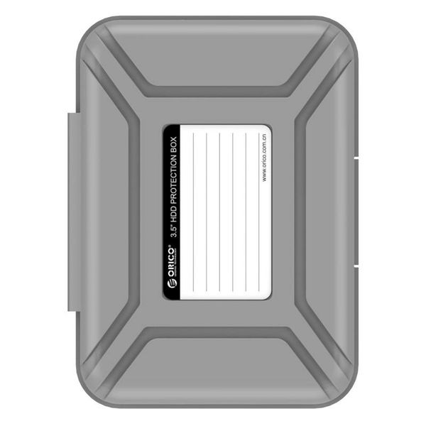 Orico Portable protective cover / protective box for a 3.5 inch hard drive - Moisture-proof, dust-proof and anti-static - PP Plastic - Includes writing label - Gray