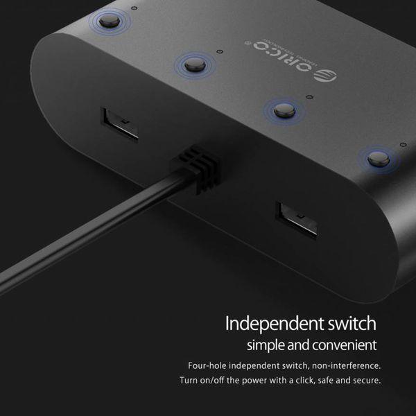 Orico Sigarettenaansteker splitter van 1 naar 4 sigarettenpoorten / Autolader  – Incl. 2x USB-A laadpoorten – 3.1A – 12/24V – 120Watt – IC chip – Inclusief 4 Aan/uit schakelaars – LED-indicator - Zwart
