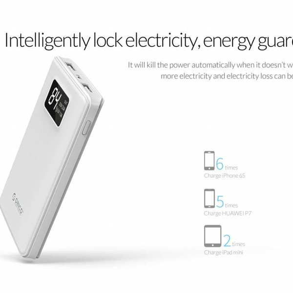 Orico 12,000mAh Power Bank with Smart Charge - LiPo Battery - LED indication