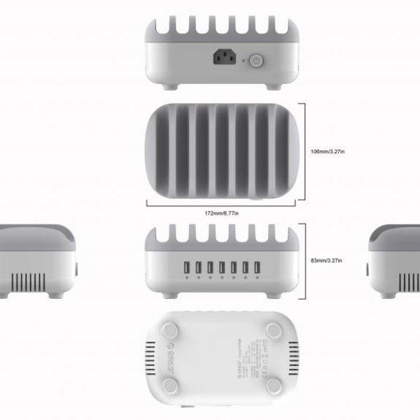 Orico Dockingstation für mehrere Ladegeräte 70W 7 Port USB-Ladestation - Weiß