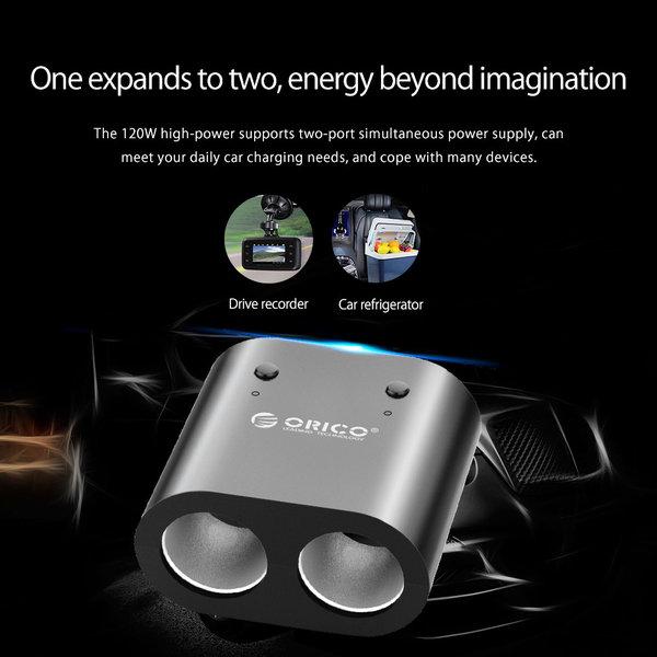 Orico Séparateur allume-cigare de 1 à 2 ports de cigarette / Chargeur de voiture - Incl. 2x ports de charge USB-A - 3.1A - 12 / 24V - 120Watt - Puce IC - Comprenant 2 interrupteurs marche / arrêt - Indicateur LED - Noir