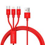 Orico Geflochtenes 3-in-1-Ladekabel aus Nylon mit Lightning-, Micro B- und Typ C-Schnittstelle - 3A - Vergoldete Steckverbinder - Aluminiumlegierung - Rot