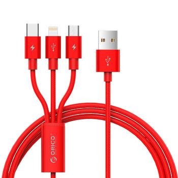 Orico Câble de charge 3 en 1 tressé en nylon avec interface Lightning, Micro B et Type-C - Rouge