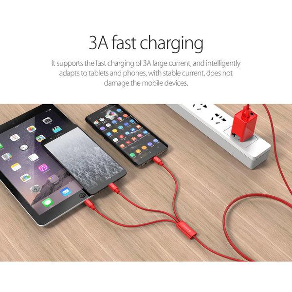 Orico Câble de charge 3 en 1 tressé en nylon avec interface Lightning, Micro B et Type-C - 3A - Connecteurs plaqués or - Alliage d'aluminium - Rouge
