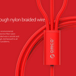 Orico Nylon gevlochten 3-in-1 laadkabel met Lightning, Micro B en Type-C interface - 3A - Vergulde connectoren - Aluminium Legering - Rood