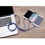 Orico Câble de charge 3 en 1 tressé en nylon avec interface Lightning, Micro B et Type-C - 3A - Connecteurs plaqués or - Alliage d'aluminium - Bleu