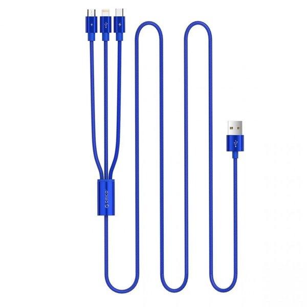 Orico 3-in-1-Ladekabel aus Nylon-Geflecht mit Lightning-, Micro B- und Typ-C-Schnittstelle - 3A - Vergoldete Anschlüsse - Aluminiumlegierung - Blau