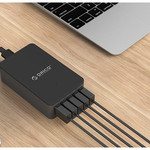 Orico Intelligentes Desktop-Ladegerät mit 5 USB-Ladeanschlüssen - IC-Chip - 40 W - schwarz / grau