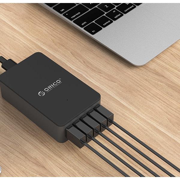 Orico Smart desktop charger met 5 USB-laadpoorten - IC chip - 40W - zwart / grijs