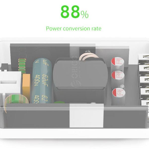 Orico Chargeur de bureau intelligent avec 5 ports de chargement USB - puce IC - 40W - noir / gris