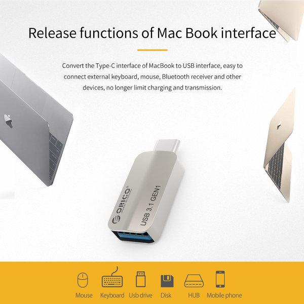 Orico Typ-C-zu-USB-3.1-Gen1-Typ-A-OTG-Adapter - Laden und Datenübertragung - Silber