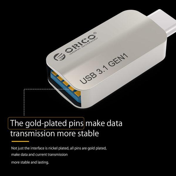 Orico Aluminium Type-C naar USB 3.1 Gen1 Type-A Adapter - Opladen & Dataoverdracht - OTG-functie - 3A - Zilver