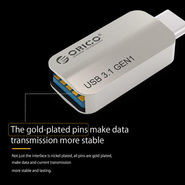 Orico Type-C to USB 3.1 Gen1 Type-A OTG Adapter - Charging & Data transfer - Silver
