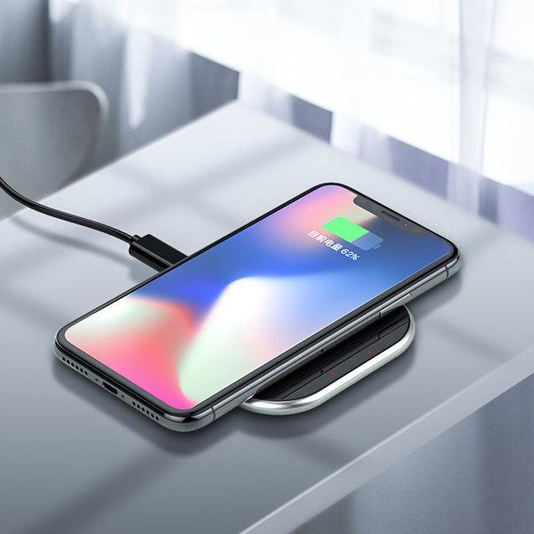 Orico Chargeur sans fil pour smartphone avec charge rapide de 10 watts - Conception ultra mince de 5,8 mm - Verre incurvé 2D - Fond en cuir - Incl. Câble 1M - Noir