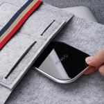 Orico Drahtloses Smartphone-Ladegerät mit 10 Watt Schnellladung - Ultradünnes Design aus 5,8 mm - 2D-gebogenes Glas - Lederboden - Inkl. 1M Kabel - Schwarz