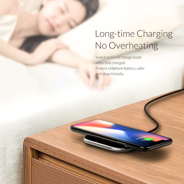 Orico Wireless smartphone charger with 10Watt Fast Charging - Ultra thin design of 5.8mm - 2D curved glass - Leather bottom - Incl. 1M cable - Black