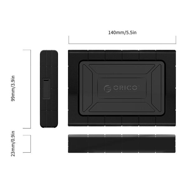 Orico Stoßfestes Festplattengehäuse 2,5 Zoll - HDD / SSD - Silikonschutzhülle - UASP - 5 Gbit / s - Inkl. Kabel- Schwarz