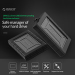 Orico Shockproof hard disk enclosure 2.5 inch - HDD / SSD - Silicone protective cover - UASP - 5Gbps - Incl. cable- Black