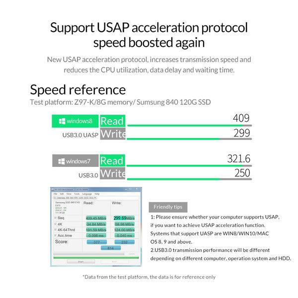 Orico Schokbestendige harde schijf behuizing 2.5 inch - HDD/SSD - Siliconen beschermhoes - UASP - 5Gbps - Incl. kabeltje- Zwart