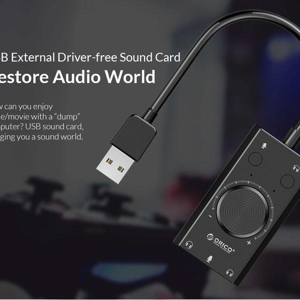 Orico Externe Soundkarte mit Lautstärkeregler - Stereo und Audio - => 80 dB - Schwarz