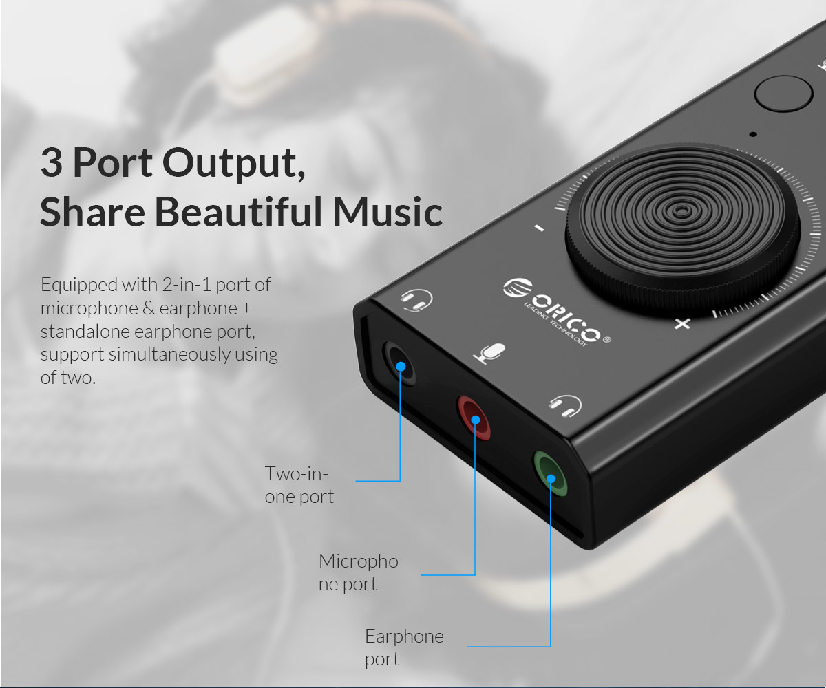External sound card with volume control - stereo and audio
