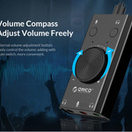 Orico External sound card with volume control - stereo and audio - => 80 dB - black