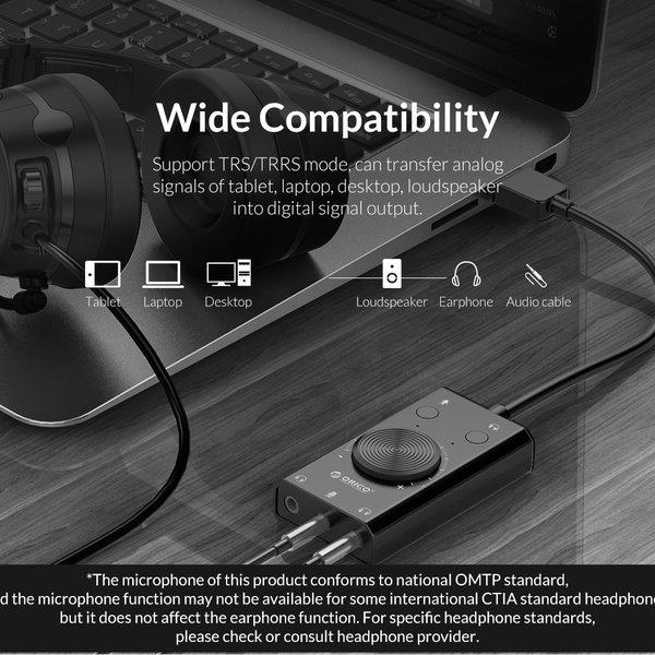 Orico Carte son externe avec contrôle du volume - stéréo et audio - => 80 dB - noir