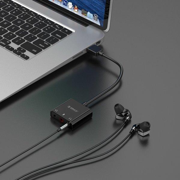 Orico USB geluidskaart met kabel - Microfoon, speaker en headset functie