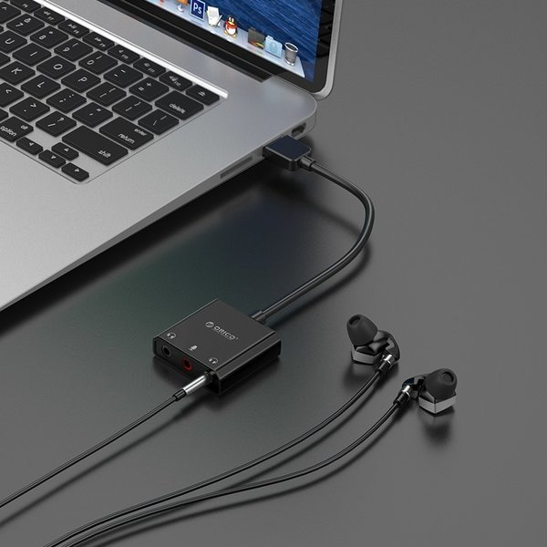 Orico USB sound card with 10 cm cable - Microphone, speaker and headset function - Black