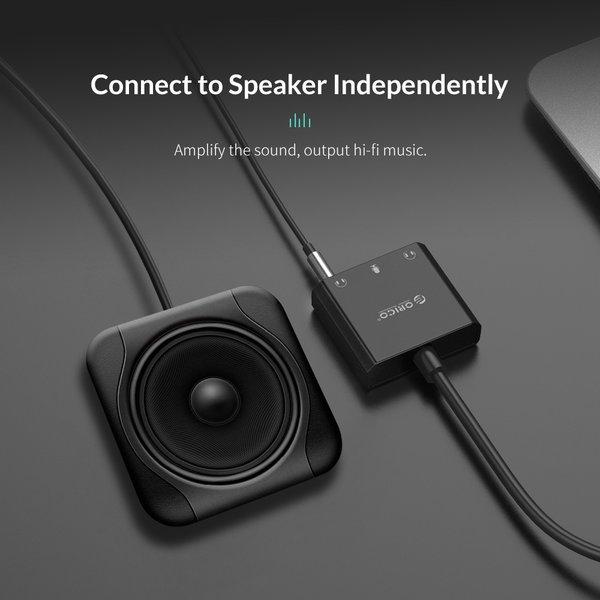 Orico USB-Soundkarte mit 10 cm Kabel - Mikrofon-, Lautsprecher- und Headset-Funktion - Schwarz