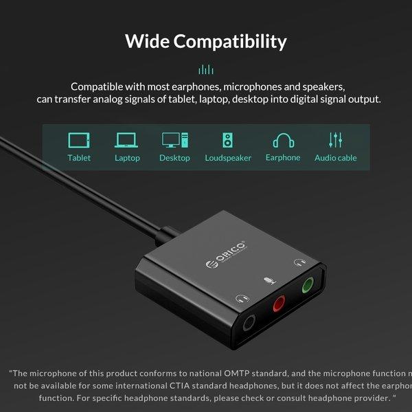 Orico Carte son USB avec câble de 10 cm - Fonction microphone, haut-parleur et casque - Noir