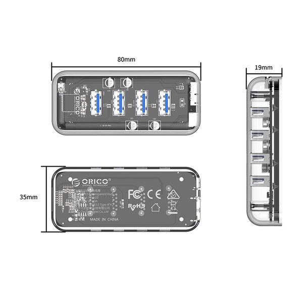 Orico Transparante USB3.0 Hub met 4 poorten – 5 Gbps – Speciale LED-indicator – Datakabel van 100cm