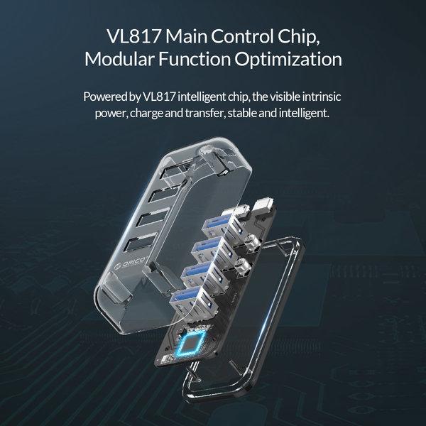 Orico Transparenter USB3.0 Hub mit 4 Ports - 5 Gbit / s - Spezielle LED-Anzeige - Datenkabel von 100 cm