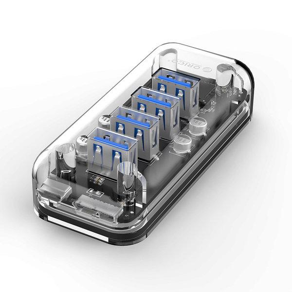 Orico Hub USB3.0 transparent avec 4 ports - 5 Gbps - Indicateur LED spécial - Câble de données de 100cm