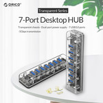 Orico Transparent USB3.0 Hub with 7 ports - 5 Gbps - Special LED indicator - Data cable of 100cm