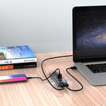 Orico Transparenter USB3.0 Hub mit 7 Ports - 5 Gbit / s - Spezielle LED-Anzeige - Datenkabel von 100 cm