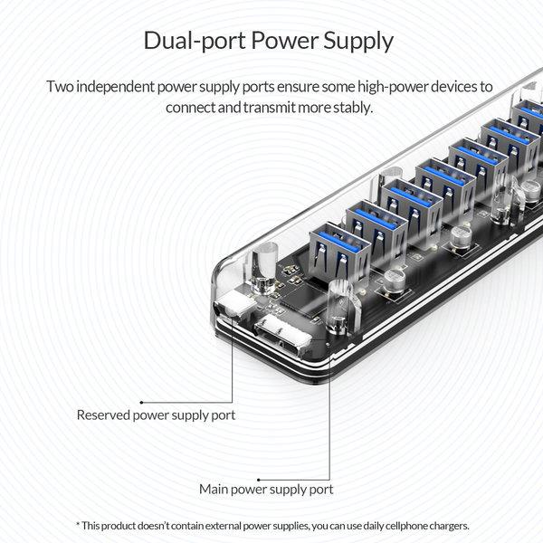 Orico Hub USB 3.0 transparent à 7 ports